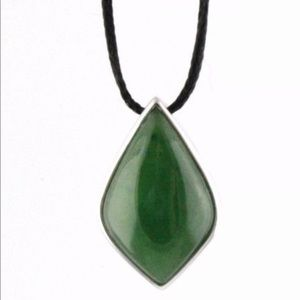 Genuine Jade Drop Pendant Sterling Silver Necklace